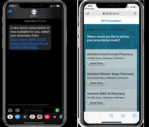 reScript sends text to patient mobile