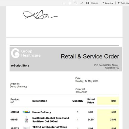reScript Store order
